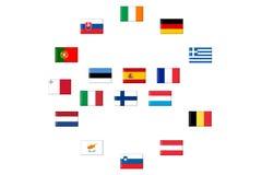 Bandierine dei paesi di eurozone Immagini Stock