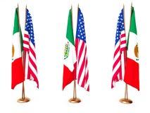Bandierine del Mexican e della condizione unita Fotografia Stock Libera da Diritti