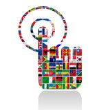Bandierine del mondo con l'insieme dell'icona Immagine Stock Libera da Diritti
