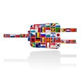 Bandierine del mondo con l'insieme dell'icona Fotografie Stock Libere da Diritti