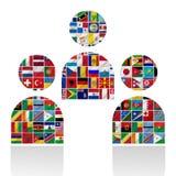 Bandierine del mondo con l'insieme dell'icona Immagine Stock