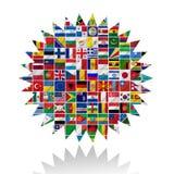Bandierine del mondo con l'insieme dell'icona Immagini Stock Libere da Diritti