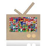 Bandierine del mondo con l'insieme dell'icona Fotografia Stock Libera da Diritti