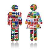 Bandierine del mondo con l'insieme dell'icona Immagini Stock
