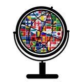 Bandierine del mondo con l'insieme dell'icona Fotografia Stock