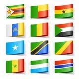 Bandierine del mondo. L'Africa. Fotografie Stock Libere da Diritti