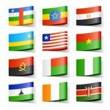 Bandierine del mondo. L'Africa. Fotografia Stock