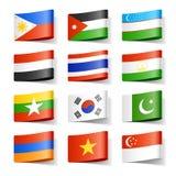 Bandierine del mondo. L'Asia. Fotografia Stock