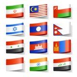 Bandierine del mondo. L'Asia. Immagini Stock