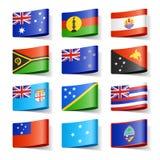 Bandierine del mondo. Oceania. Fotografie Stock