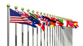 Bandierine del mondo su una priorità bassa bianca illustrazione vettoriale