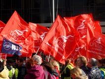 Bandierine del sindacato ad un raduno Immagine Stock Libera da Diritti