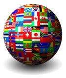 Bandierine dell'insieme dei paesi in una sfera Immagine Stock