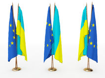 Bandierine dell'Ucraina e dell'Ue Fotografia Stock Libera da Diritti