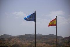 Bandierine dell'Ue e della Spagna Fotografia Stock