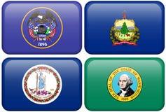 Bandierine della condizione: L'Utah, Vermont, la Virginia, Washington Fotografia Stock