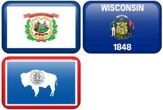 Bandierine della condizione: La Virginia dell'Ovest, Wisconsin, Wyoming Immagini Stock