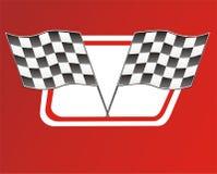 Bandierine della corsa su colore rosso illustrazione vettoriale