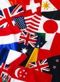 Bandierine di molte nazioni Immagini Stock