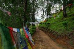 Bandierine di preghiera nel Bhutan fotografie stock libere da diritti