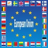Bandierine di Unione Europea Fotografia Stock