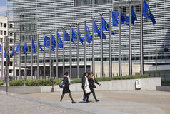 Bandierine di Unione Europea a Bruxelles Fotografia Stock