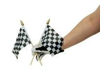Bandierine e guanti Checkered di corsa immagini stock libere da diritti