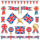 Bandierine e rosette della Gran Bretagna Immagine Stock