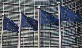 Bandierine europee a Bruxelles immagine stock