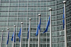 Bandierine europee a Bruxelles Fotografia Stock