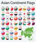 Bandierine lucide dei tasti del continente asiatico Immagini Stock Libere da Diritti