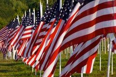 Bandierine nei campi curativi per 9/11 Immagini Stock Libere da Diritti