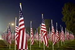 Bandierine nei campi curativi per 9/11 Fotografie Stock Libere da Diritti