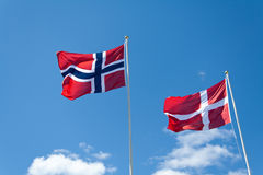 Bandierine norvegesi e danesi Fotografia Stock