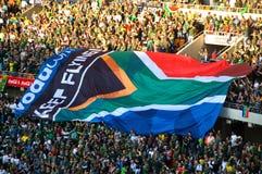 Bandierine sudafricane ad un gioco di rugby Fotografie Stock Libere da Diritti