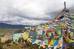 Bandierine tibetane di preghiera Fotografia Stock