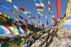 Bandierine tibetane di preghiera a Lhasa Fotografie Stock
