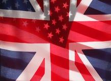 Bandierine trasparenti del Regno Unito e degli Stati Uniti Immagine Stock Libera da Diritti