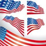 Bandierine ventose degli S.U.A. Fotografie Stock Libere da Diritti