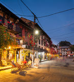 Bandipur Bazaar. BANDIPUR, NEPAL - 21 December 2016: Cafes and restaurants at twilight, 21 December 2016 in Bandipur, Nepal Stock Photography