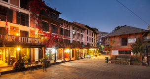 Bandipur Bazaar. BANDIPUR, NEPAL - 21 December 2016: Cafes and restaurants at twilight, 21 December 2016 in Bandipur, Nepal Stock Image