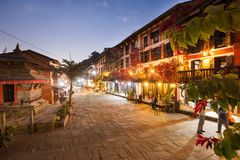 Bandipur Bazaar. BANDIPUR, NEPAL - 21 December 2016: Cafes and restaurants at twilight, 21 December 2016 in Bandipur, Nepal Royalty Free Stock Images