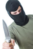 Bandit in balaclava with knife isolated Stock Photo