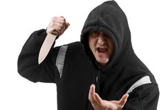 Bandit in black with knife Stock Photography