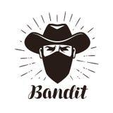 Bandit fâché, logo de bandit ou label Portrait de cowboy dans le masque Photographie stock libre de droits