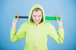 Bandit gang and conflict. aggressive woman with bat from bandit gang. woman workout with baseball bat. Fighting with royalty free stock images