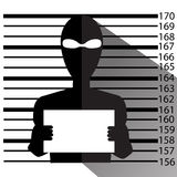 Bandit and gangster in cartoon style makes a prisoner photo. Stock Image