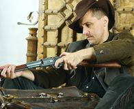 Bandit with gun royalty free stock photo