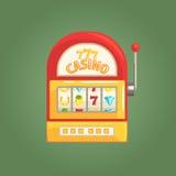 Bandit manchot Slot Machine, jeu et illustration relative de bande dessinée de boîte de nuit de casino Photographie stock libre de droits