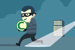 Bandit in mask robbery copyright of company Stock Photos